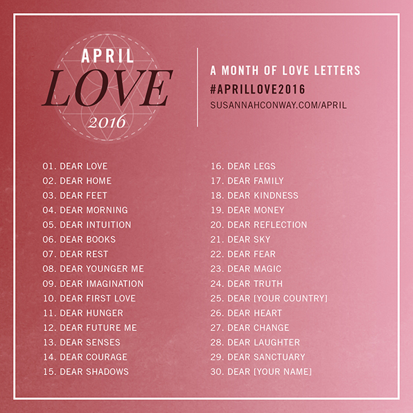 Join us in April for a month of self-care and kindness with my (completely free) April Love 2016 challenge | SusannahConway.com